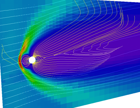 Magnetosphere in a computer simulation