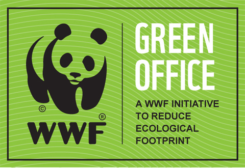 Green office logo, jossa wwf:n panda ja teksti green office, a wwf initiative to reduce ecological footprint